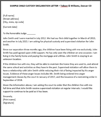 How To Write A Declaration Letter For Child Custody